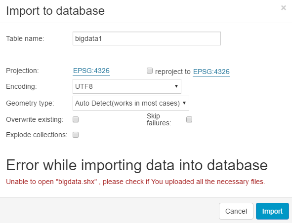 Import Layer into Database | GIS Cloud User Manual