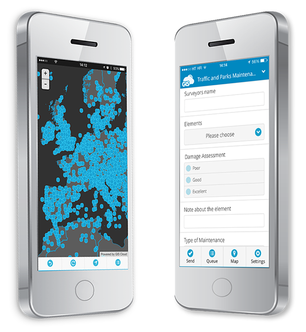 Mobile Data Collection is a GIS Cloud Application for collecting data in the field, which is instantly visible on a map, and that is crucial for a great collaboration using maps and gis data.