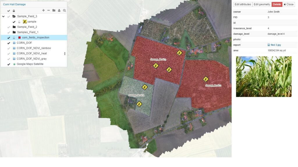 samples farm area GIS Cloud