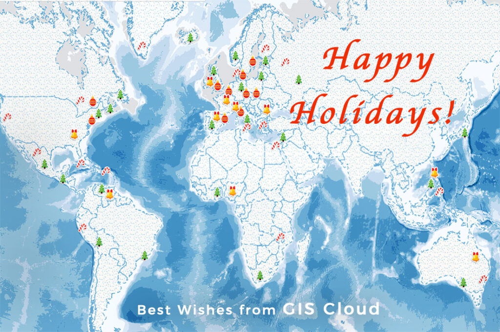 GIS Cloud happy holidays christmas map