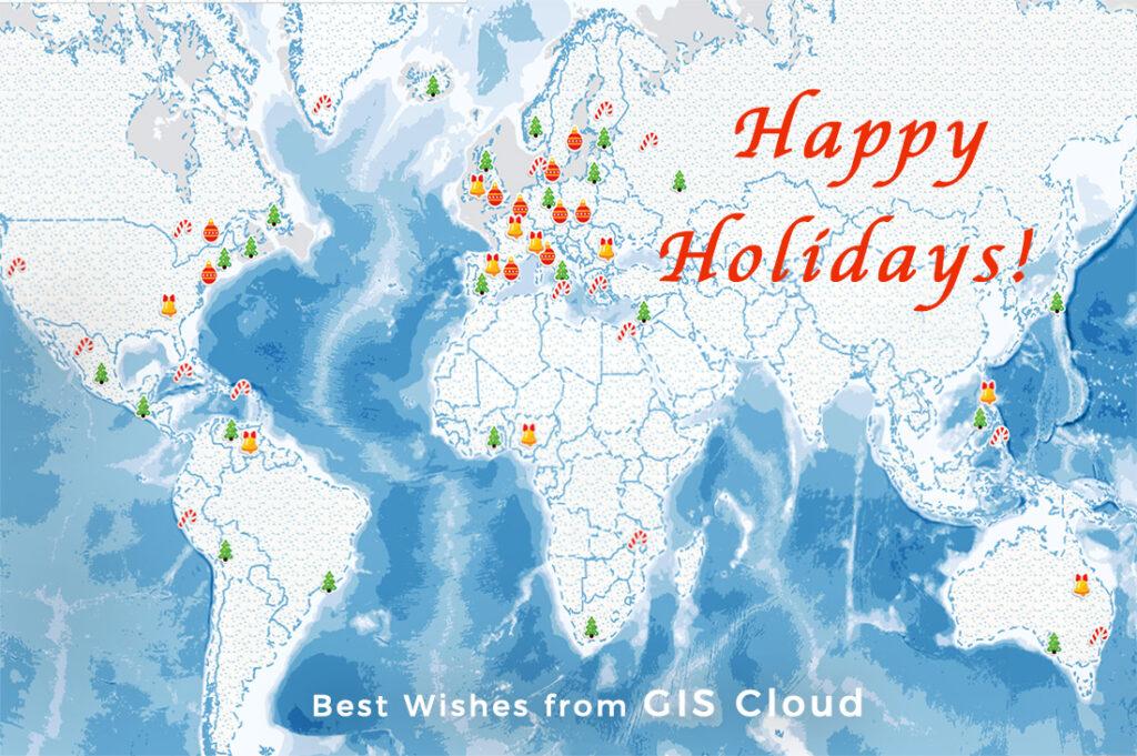 GIS Cloud happy holidays christmas map