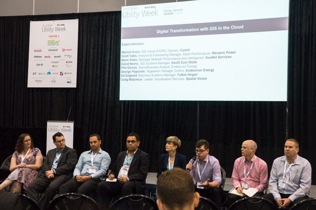 Focus Group at Australian Utility Week 2017: Digital Transformation with GIS in the Cloud;, Participants: Fulton Hogan, Western Power, Endeavour Energy, Cyient, AusNet Services, South East Water, Spatial Vision, GIS Cloud