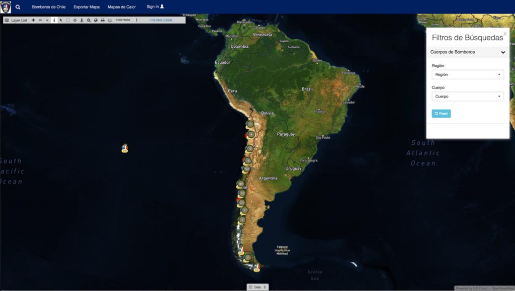 Bomberos de Chile Public Map portal