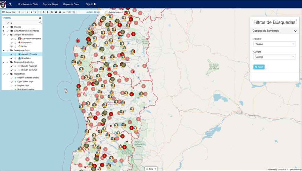 Firefighters of Chile departments - Map