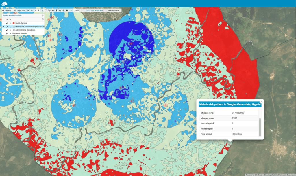 Malaria risk map zoom in