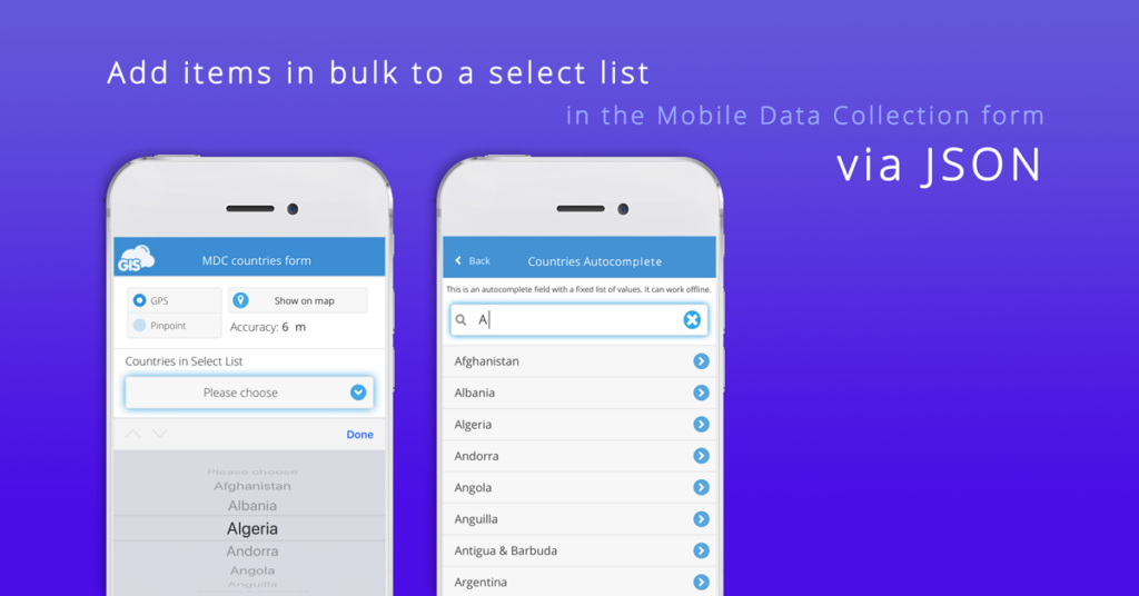 How to add items in bulk to a select list in Mobile Data Collection form via JSON