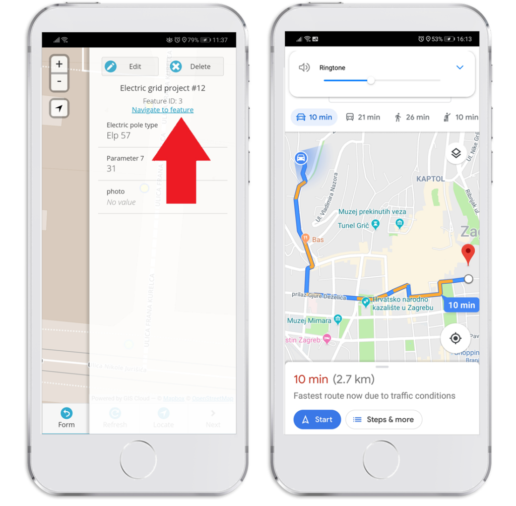 Mobile data collection update - navigate to feature with google maps