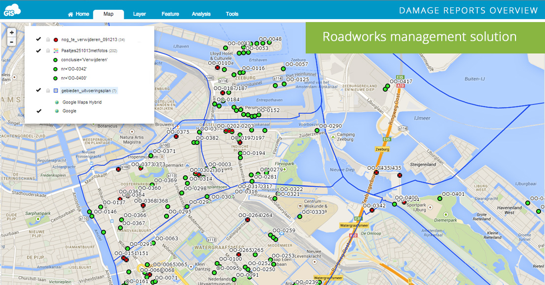 Roadworks Solution: City of Amsterdam Case Study | GIS Cloud on copenhagen map, moscow map, europe map, athens map, holland map, denmark map, israel map, world map, kinderdijk map, the netherlands map, edinburgh map, belgium map, leiden map, madrid map, hamburg map, constantinople map, berlin map, rotterdam map, budapest on map, stockholm on map,