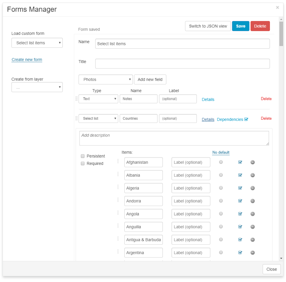 select list in Mobile Data Collection form via JSON - forms manager