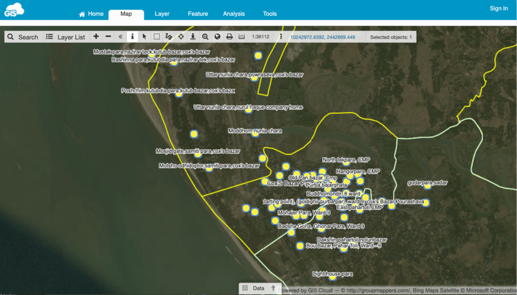 Mapping Villages in Southern Bangladesh map editor