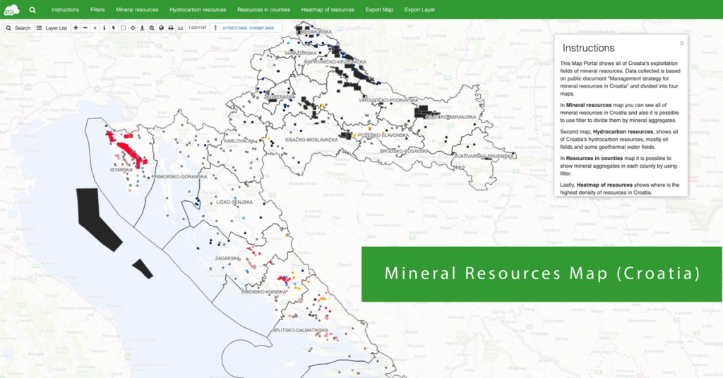 Mineral resources map of Croatia