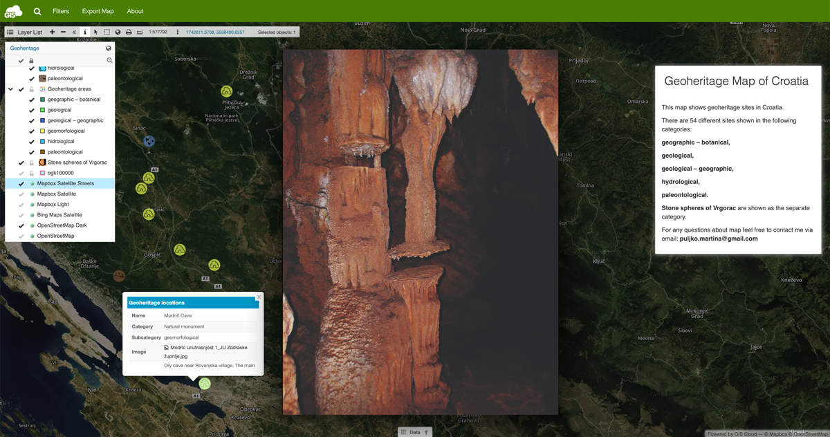 Geoheritage map GIS portal - site picture