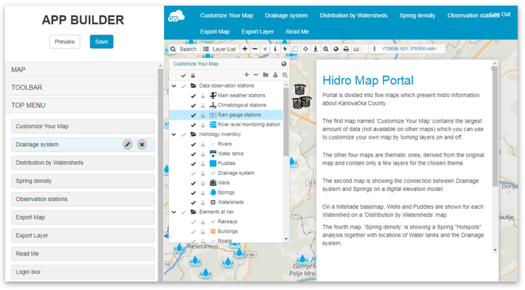 Hydrological map portal - GIS Cloud app builder