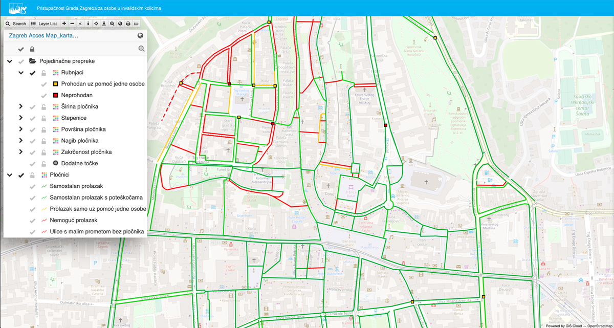 Accessibility Map Of Zagreb For Persons In Wheelchairs Gis Cloud