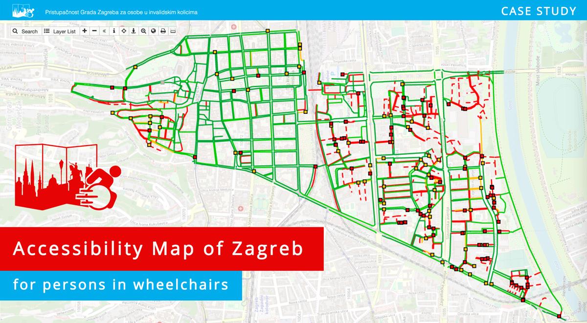 Accessibility map of zagreb