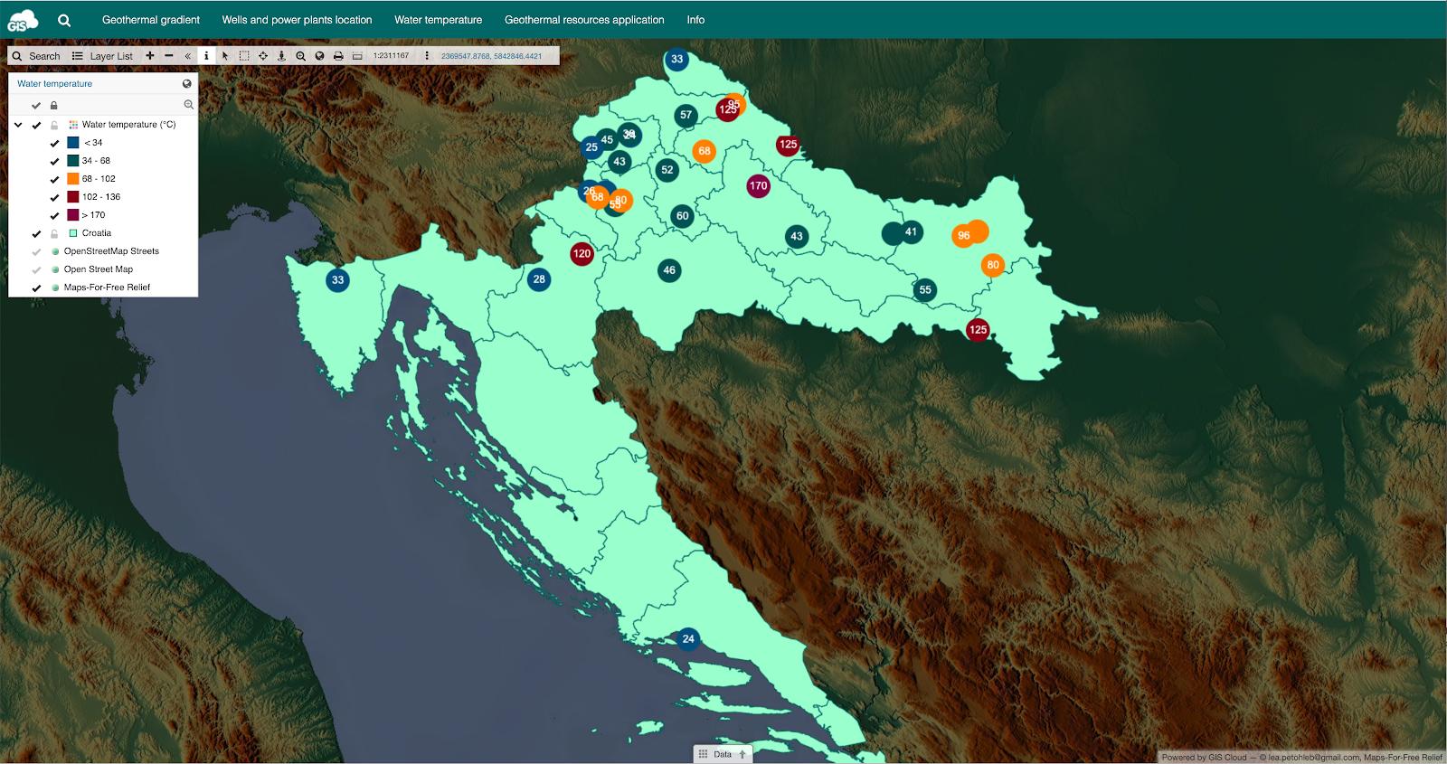 groundwater temperature map croatia