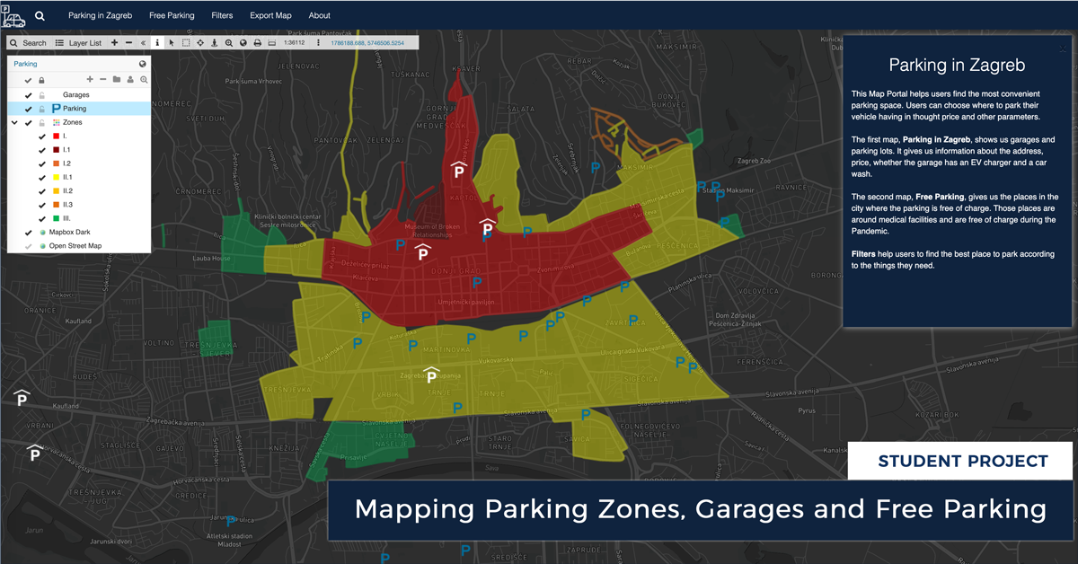 Mapping Parking Zones, Garages and Free Parking in Zagreb (Croatia)